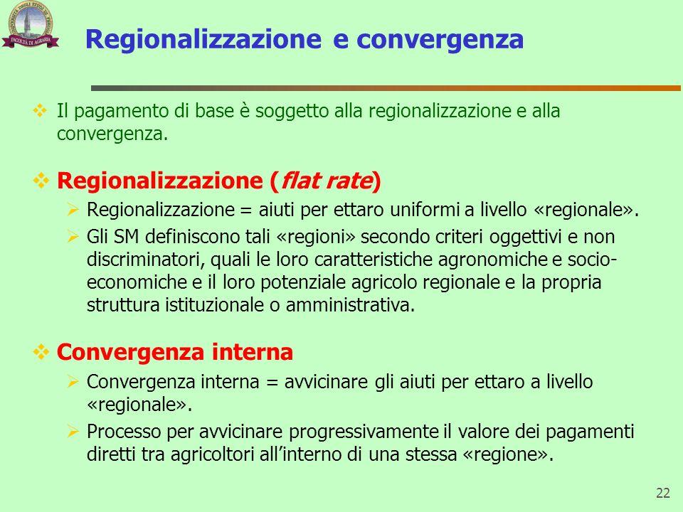 Regionalizzazione e convergenza Il pagamento di base è soggetto alla regionalizzazione e alla convergenza. Regionalizzazione (flat rate) Regionalizzaz