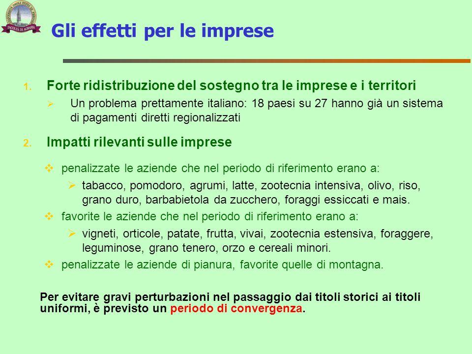 Gli effetti per le imprese 1. Forte ridistribuzione del sostegno tra le imprese e i territori Un problema prettamente italiano: 18 paesi su 27 hanno g