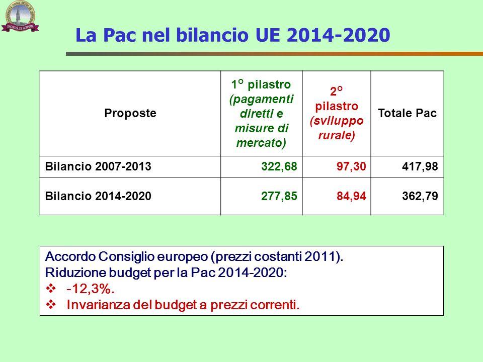 La Pac nel bilancio UE 2014-2020 Proposte 1° pilastro (pagamenti diretti e misure di mercato) 2° pilastro (sviluppo rurale) Totale Pac Bilancio 2007-2