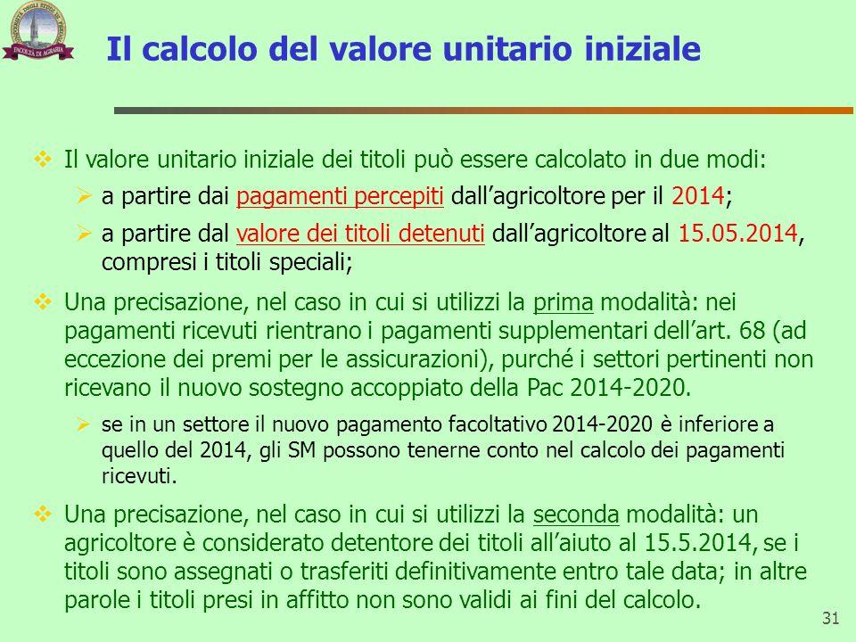 Il calcolo del valore unitario iniziale 31 Il valore unitario iniziale dei titoli può essere calcolato in due modi: a partire dai pagamenti percepiti