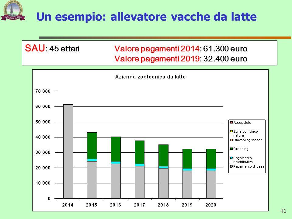 Un esempio: allevatore vacche da latte 41 SAU : 45 ettari Valore pagamenti 2014: 61.300 euro Valore pagamenti 2019: 32.400 euro
