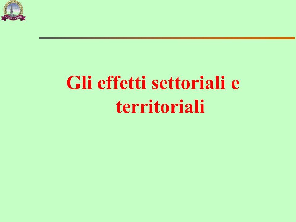 Gli effetti settoriali e territoriali
