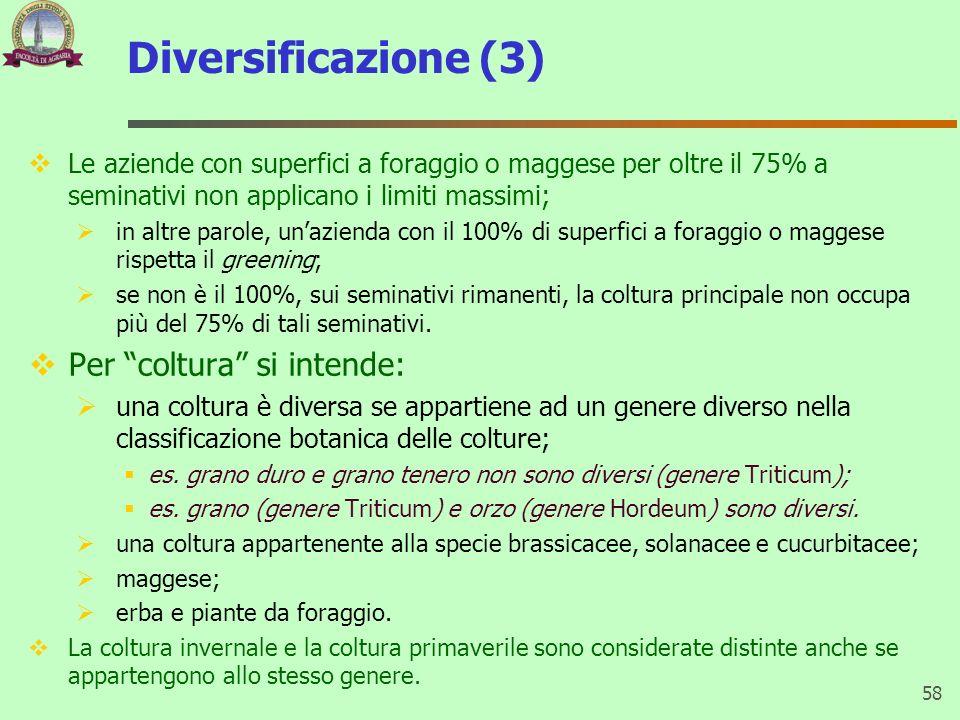 Diversificazione (3) Le aziende con superfici a foraggio o maggese per oltre il 75% a seminativi non applicano i limiti massimi; in altre parole, unaz