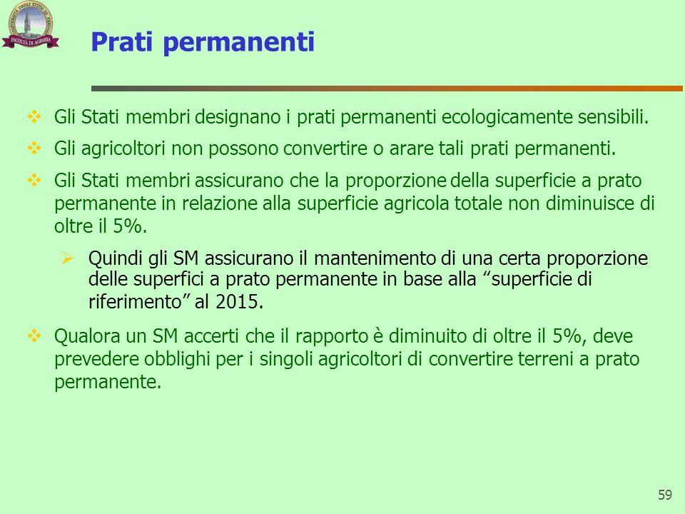 Prati permanenti Gli Stati membri designano i prati permanenti ecologicamente sensibili. Gli agricoltori non possono convertire o arare tali prati per
