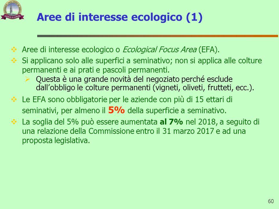 Aree di interesse ecologico (1) Aree di interesse ecologico o Ecological Focus Area (EFA). Si applicano solo alle superfici a seminativo; non si appli