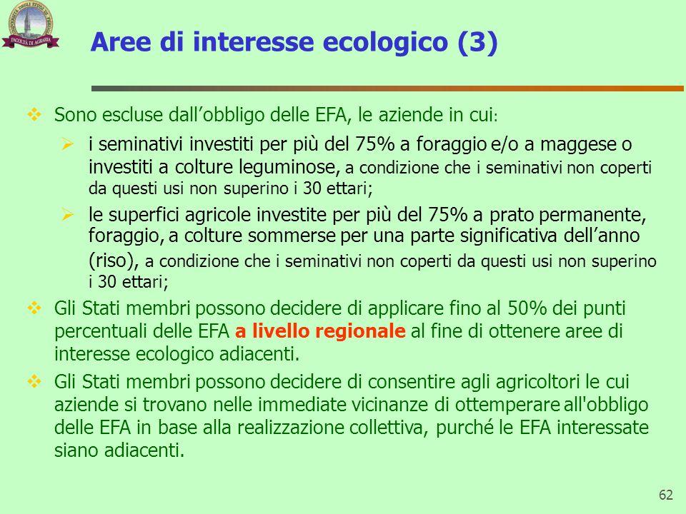 Aree di interesse ecologico (3) 62 Sono escluse dallobbligo delle EFA, le aziende in cui : i seminativi investiti per più del 75% a foraggio e/o a mag