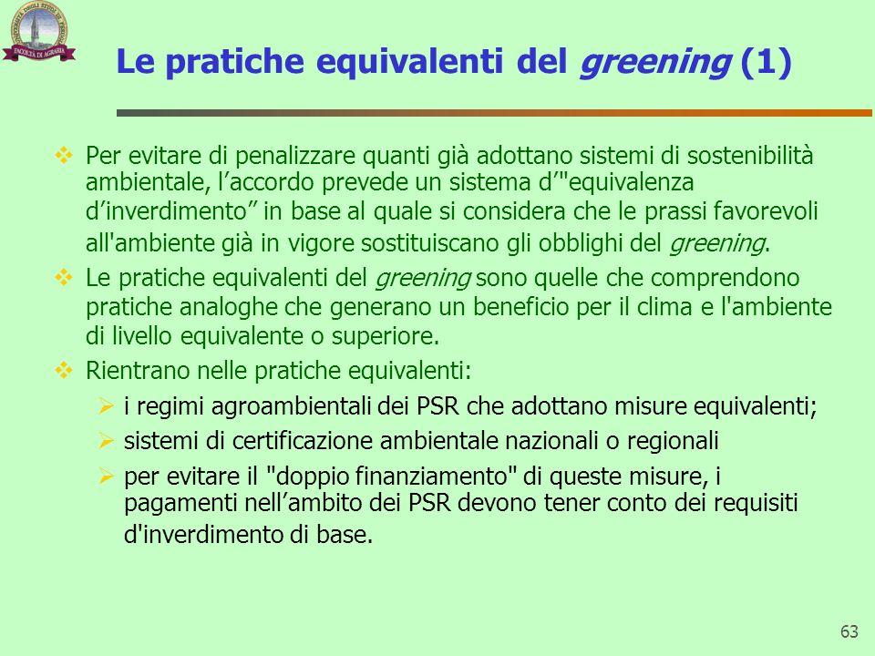 Le pratiche equivalenti del greening (1) Per evitare di penalizzare quanti già adottano sistemi di sostenibilità ambientale, laccordo prevede un siste