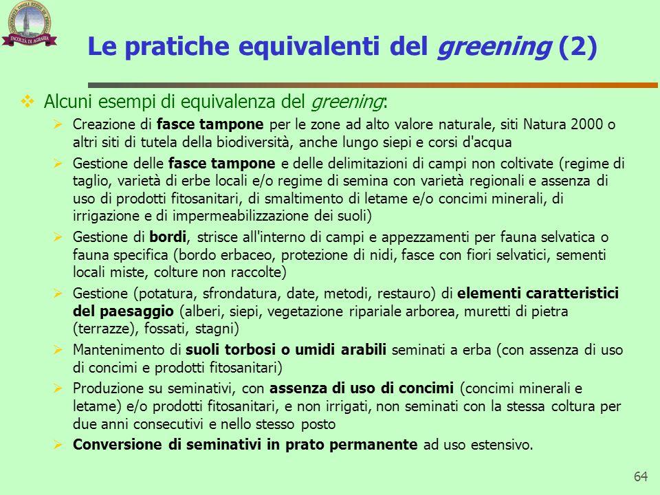 Le pratiche equivalenti del greening (2) Alcuni esempi di equivalenza del greening: Creazione di fasce tampone per le zone ad alto valore naturale, si