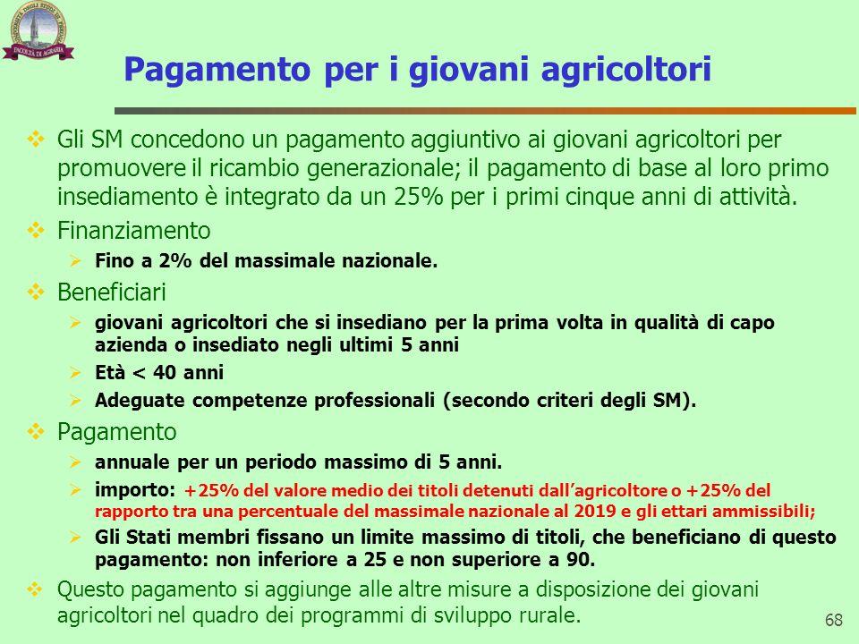 Pagamento per i giovani agricoltori Gli SM concedono un pagamento aggiuntivo ai giovani agricoltori per promuovere il ricambio generazionale; il pagam