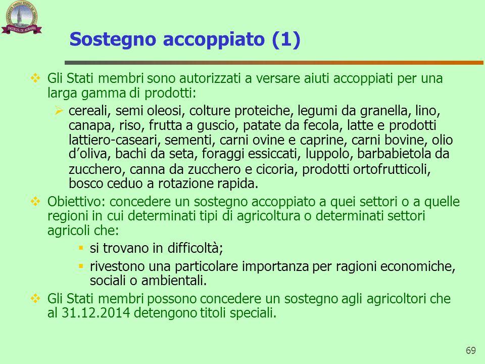 Sostegno accoppiato (1) Gli Stati membri sono autorizzati a versare aiuti accoppiati per una larga gamma di prodotti: cereali, semi oleosi, colture pr