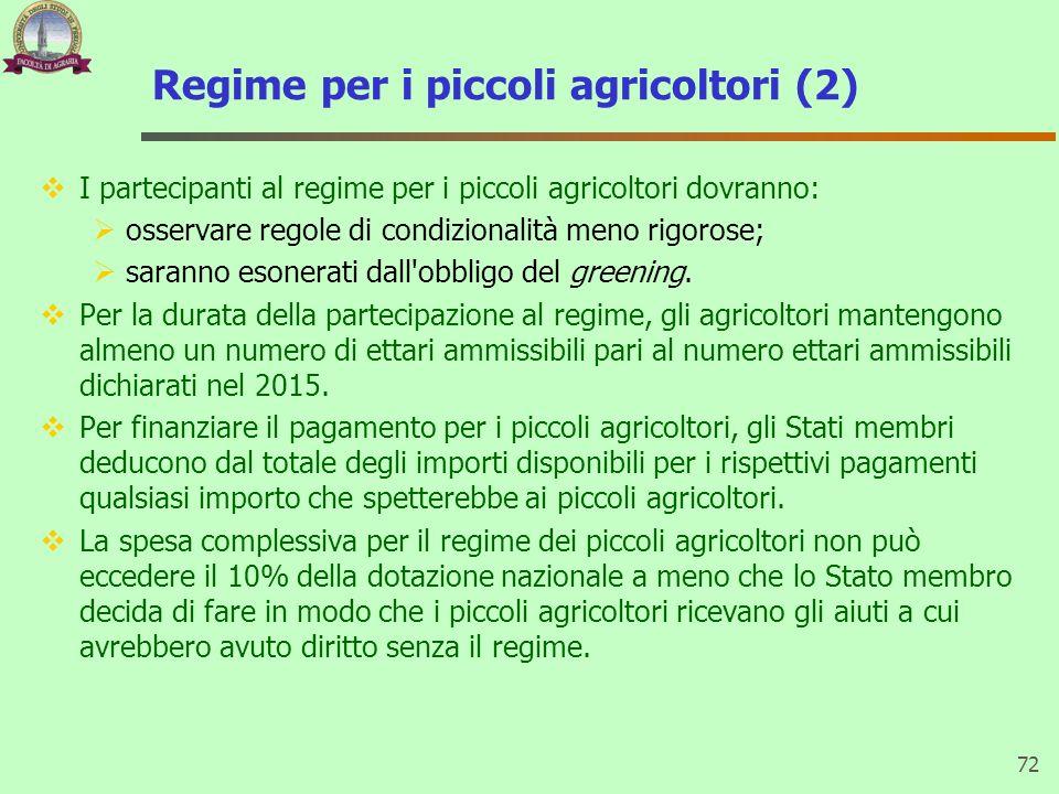 Regime per i piccoli agricoltori (2) I partecipanti al regime per i piccoli agricoltori dovranno: osservare regole di condizionalità meno rigorose; sa