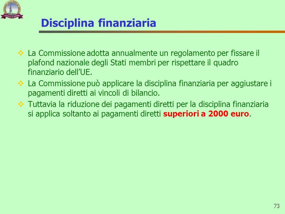 Disciplina finanziaria La Commissione adotta annualmente un regolamento per fissare il plafond nazionale degli Stati membri per rispettare il quadro f