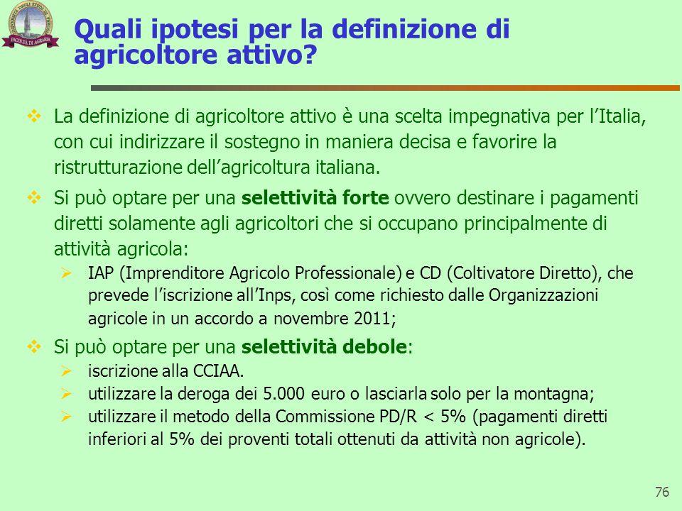 Quali ipotesi per la definizione di agricoltore attivo? La definizione di agricoltore attivo è una scelta impegnativa per lItalia, con cui indirizzare