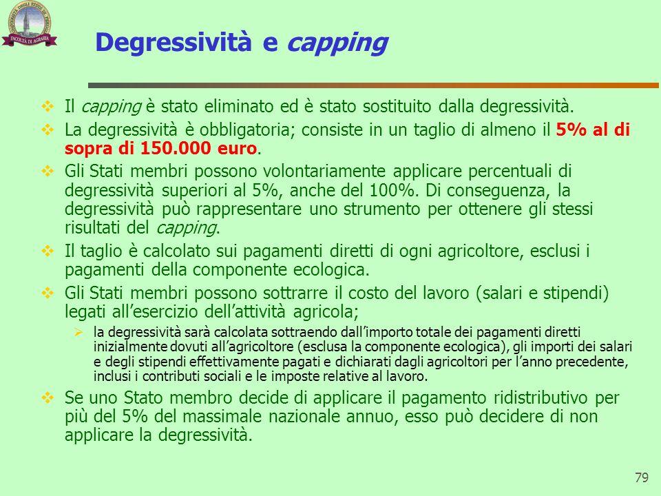 Degressività e capping Il capping è stato eliminato ed è stato sostituito dalla degressività. La degressività è obbligatoria; consiste in un taglio di