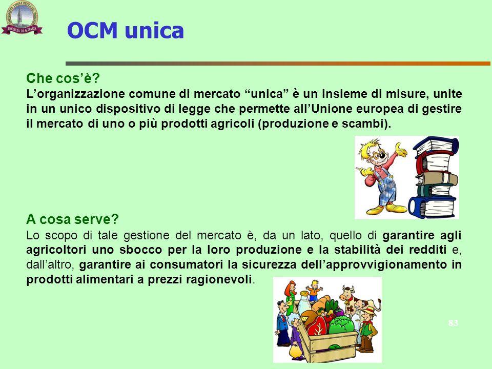 83 Che cosè? Lorganizzazione comune di mercato unica è un insieme di misure, unite in un unico dispositivo di legge che permette allUnione europea di
