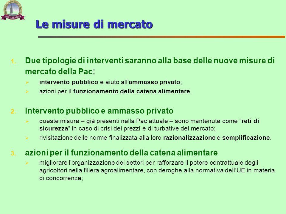 1. Due tipologie di interventi saranno alla base delle nuove misure di mercato della Pac : intervento pubblico e aiuto all'ammasso privato; azioni per