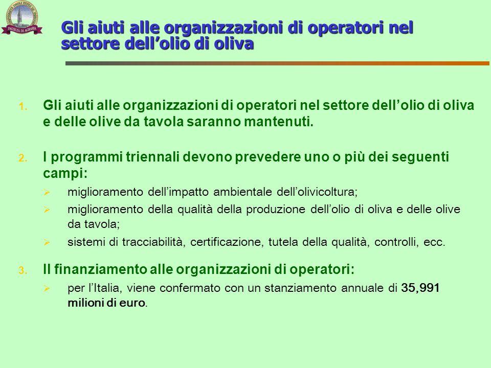 1. Gli aiuti alle organizzazioni di operatori nel settore dellolio di oliva e delle olive da tavola saranno mantenuti. 2. I programmi triennali devono