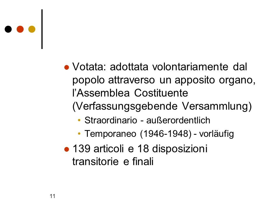 11 Votata: adottata volontariamente dal popolo attraverso un apposito organo, lAssemblea Costituente (Verfassungsgebende Versammlung) Straordinario -