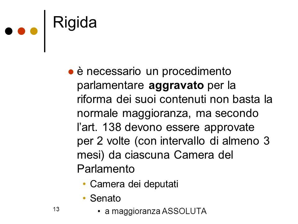 13 Rigida è necessario un procedimento parlamentare aggravato per la riforma dei suoi contenuti non basta la normale maggioranza, ma secondo lart. 138