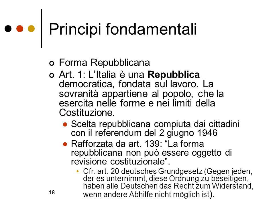 18 Principi fondamentali Forma Repubblicana Art. 1: LItalia è una Repubblica democratica, fondata sul lavoro. La sovranità appartiene al popolo, che l
