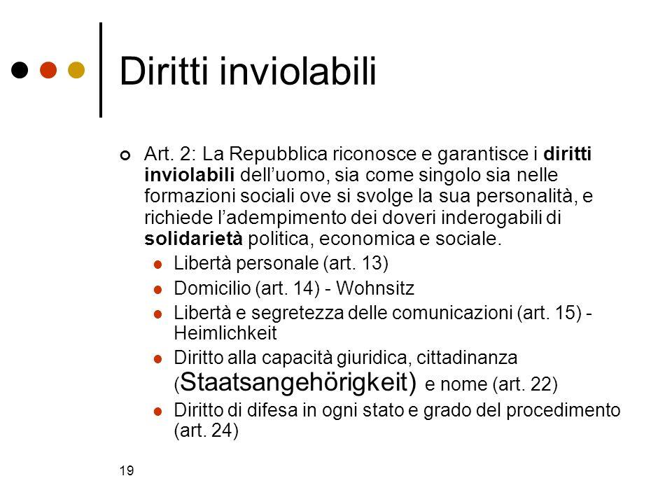 19 Diritti inviolabili Art. 2: La Repubblica riconosce e garantisce i diritti inviolabili delluomo, sia come singolo sia nelle formazioni sociali ove