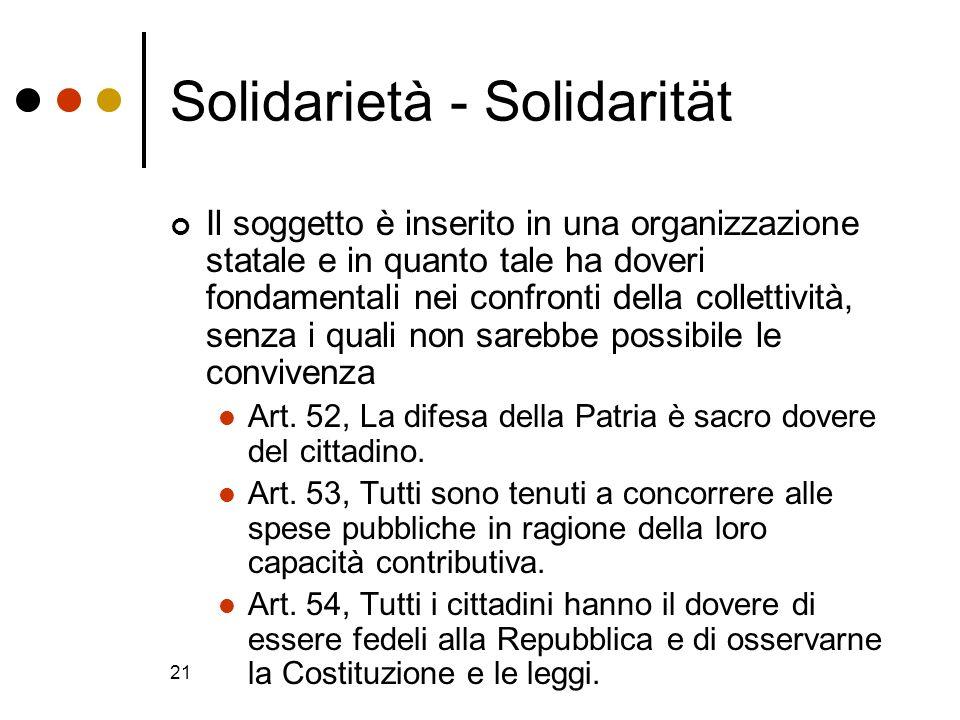 21 Solidarietà - Solidarität Il soggetto è inserito in una organizzazione statale e in quanto tale ha doveri fondamentali nei confronti della colletti