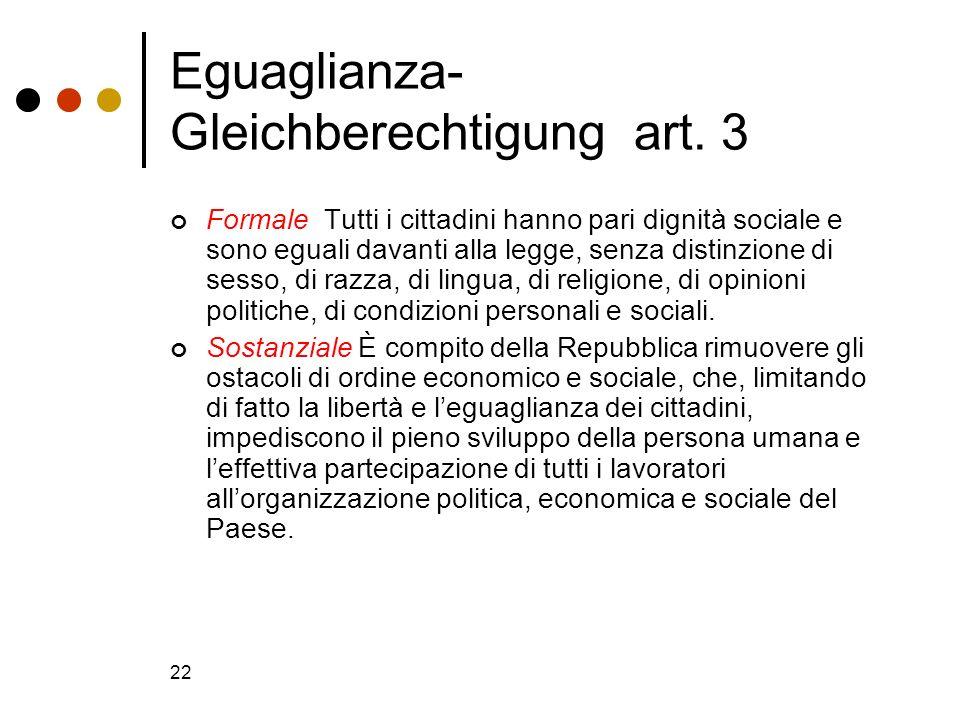 22 Eguaglianza- Gleichberechtigung art. 3 Formale Tutti i cittadini hanno pari dignità sociale e sono eguali davanti alla legge, senza distinzione di