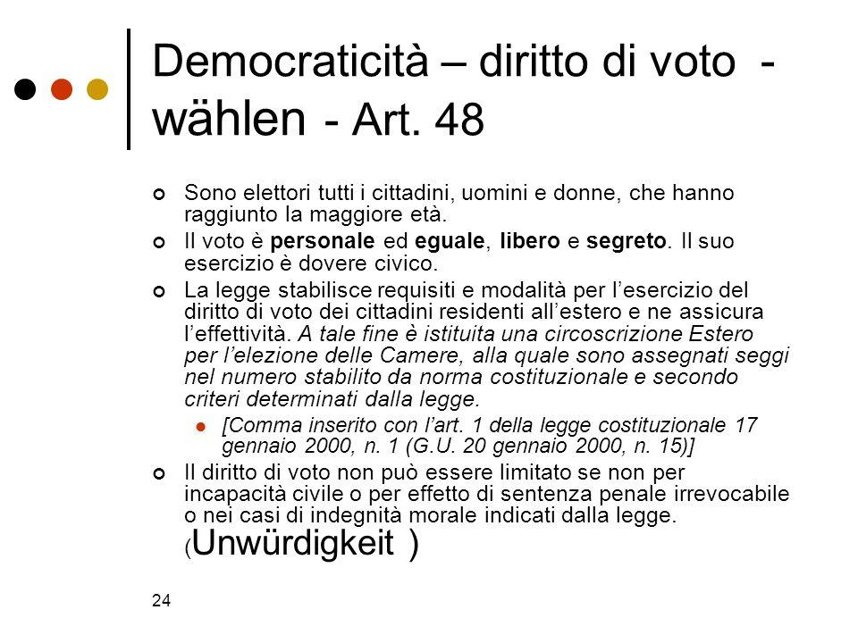24 Democraticità – diritto di voto - wählen - Art. 48 Sono elettori tutti i cittadini, uomini e donne, che hanno raggiunto la maggiore età. Il voto è