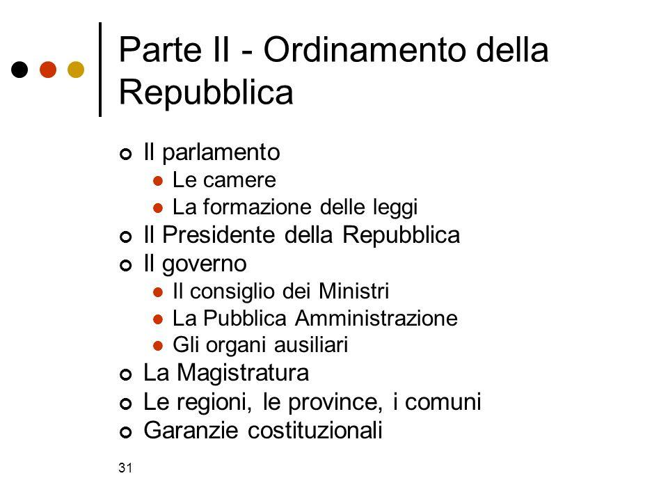 31 Parte II - Ordinamento della Repubblica Il parlamento Le camere La formazione delle leggi Il Presidente della Repubblica Il governo Il consiglio de