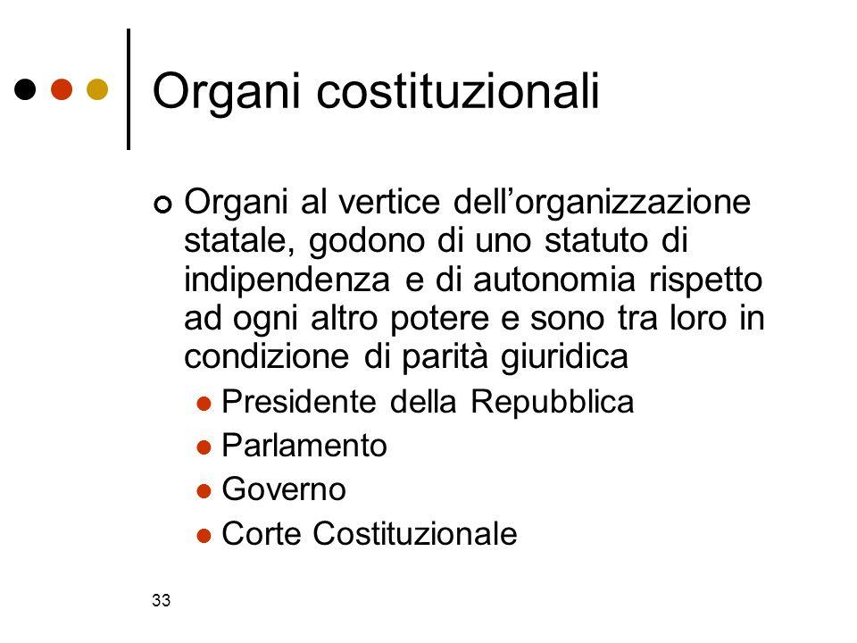 33 Organi costituzionali Organi al vertice dellorganizzazione statale, godono di uno statuto di indipendenza e di autonomia rispetto ad ogni altro pot