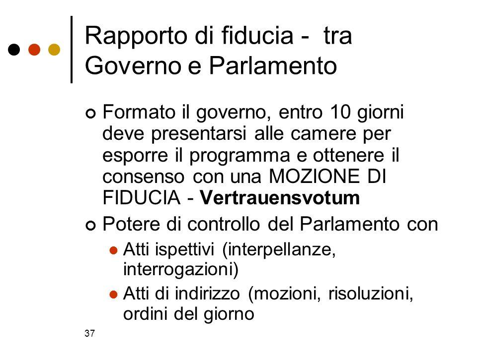 37 Rapporto di fiducia - tra Governo e Parlamento Formato il governo, entro 10 giorni deve presentarsi alle camere per esporre il programma e ottenere