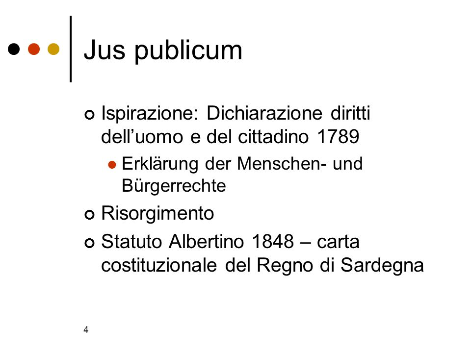 4 Jus publicum Ispirazione: Dichiarazione diritti delluomo e del cittadino 1789 Erklärung der Menschen- und Bürgerrechte Risorgimento Statuto Albertin