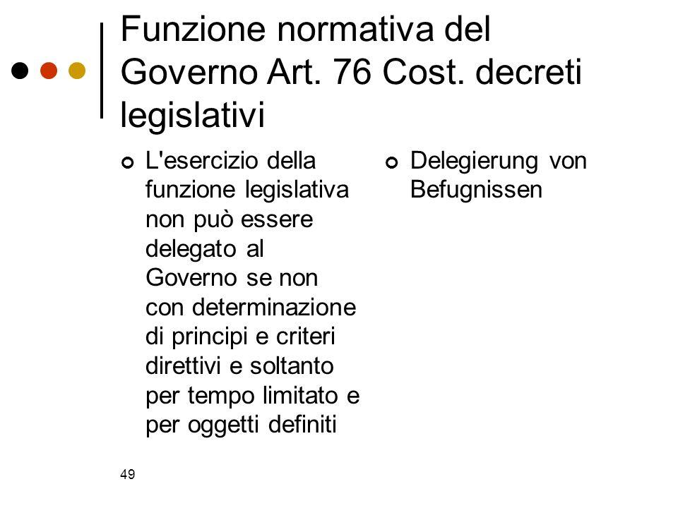 49 Funzione normativa del Governo Art. 76 Cost. decreti legislativi L'esercizio della funzione legislativa non può essere delegato al Governo se non c