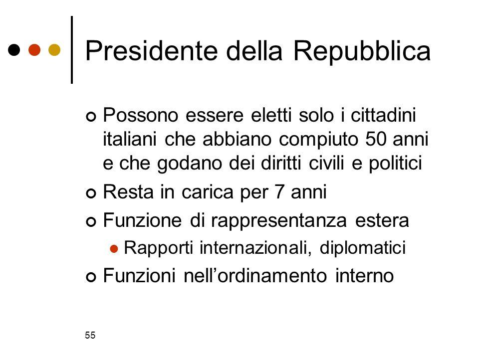 55 Presidente della Repubblica Possono essere eletti solo i cittadini italiani che abbiano compiuto 50 anni e che godano dei diritti civili e politici