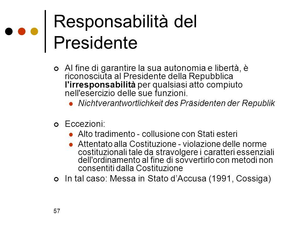 57 Responsabilità del Presidente Al fine di garantire la sua autonomia e libertà, è riconosciuta al Presidente della Repubblica l'irresponsabilità per