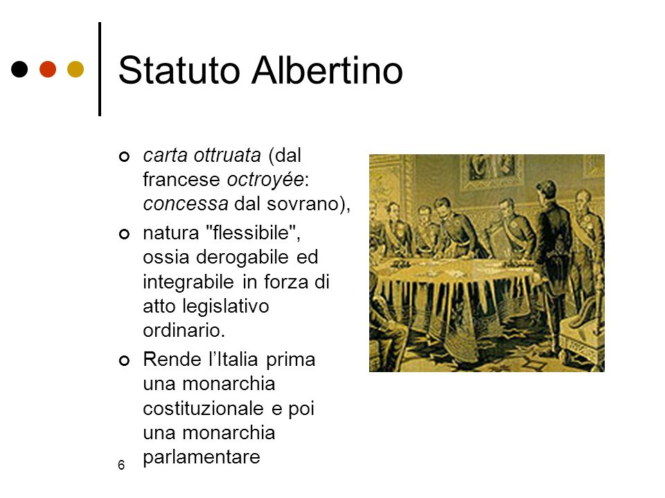 6 Statuto Albertino carta ottruata (dal francese octroyée: concessa dal sovrano), natura
