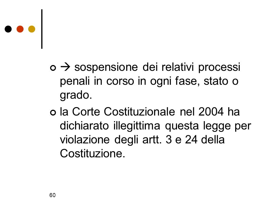 60 sospensione dei relativi processi penali in corso in ogni fase, stato o grado. la Corte Costituzionale nel 2004 ha dichiarato illegittima questa le