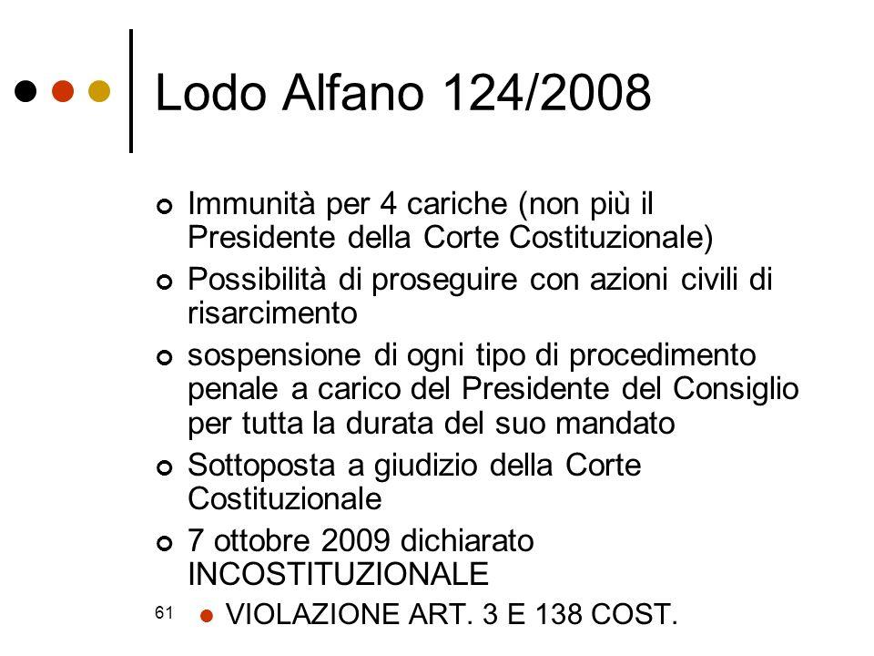 61 Lodo Alfano 124/2008 Immunità per 4 cariche (non più il Presidente della Corte Costituzionale) Possibilità di proseguire con azioni civili di risar