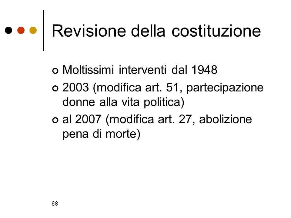 68 Revisione della costituzione Moltissimi interventi dal 1948 2003 (modifica art. 51, partecipazione donne alla vita politica) al 2007 (modifica art.
