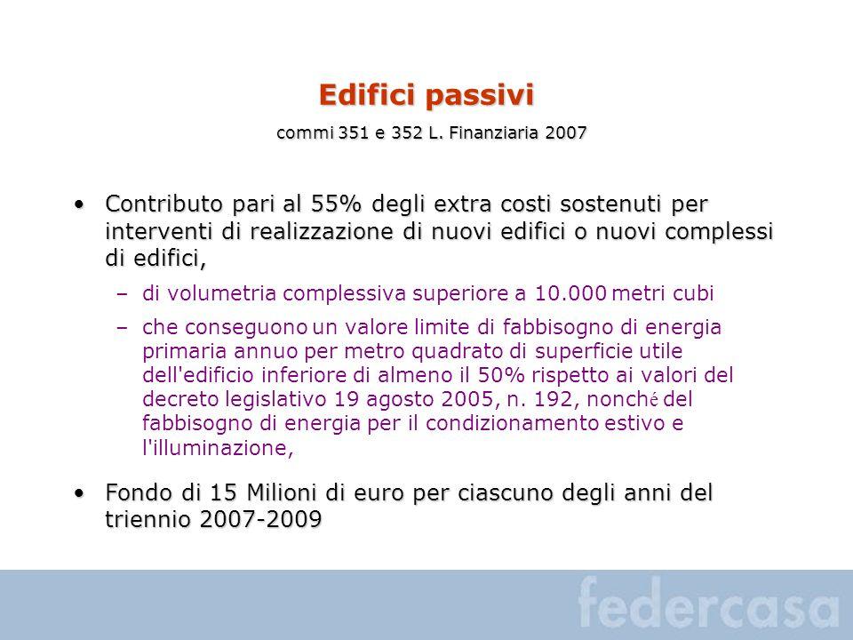 Edifici passivi commi 351 e 352 L. Finanziaria 2007 Contributo pari al 55% degli extra costi sostenuti per interventi di realizzazione di nuovi edific
