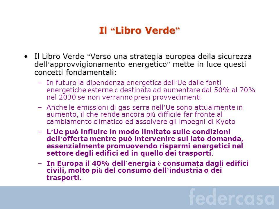 Il Libro Verde Il Libro Verde Il Libro Verde Verso una strategia europea deila sicurezza dell approvvigionamento energetico mette in luce questi conce