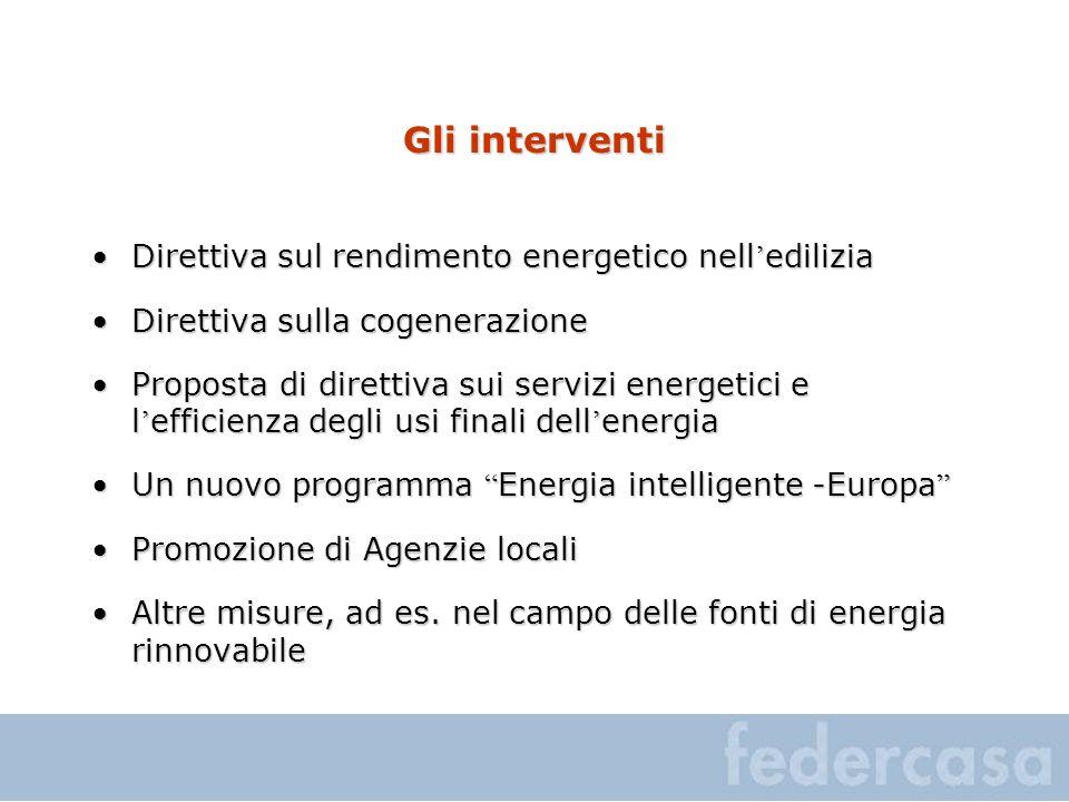 Gli interventi Direttiva sul rendimento energetico nell ediliziaDirettiva sul rendimento energetico nell edilizia Direttiva sulla cogenerazioneDiretti