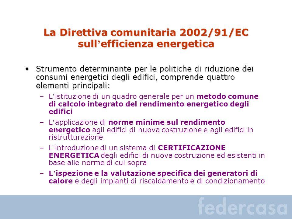 La Direttiva comunitaria 2002/91/EC sull efficienza energetica Strumento determinante per le politiche di riduzione dei consumi energetici degli edifi