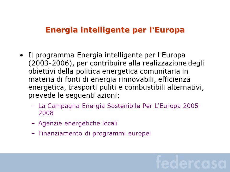 Energia intelligente per l Europa Il programma Energia intelligente per l Europa (2003-2006), per contribuire alla realizzazione degli obiettivi della