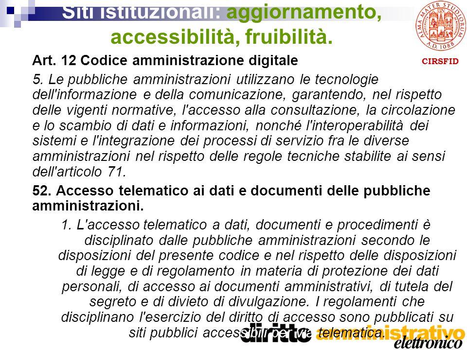CIRSFID Siti istituzionali: aggiornamento, accessibilità, fruibilità.