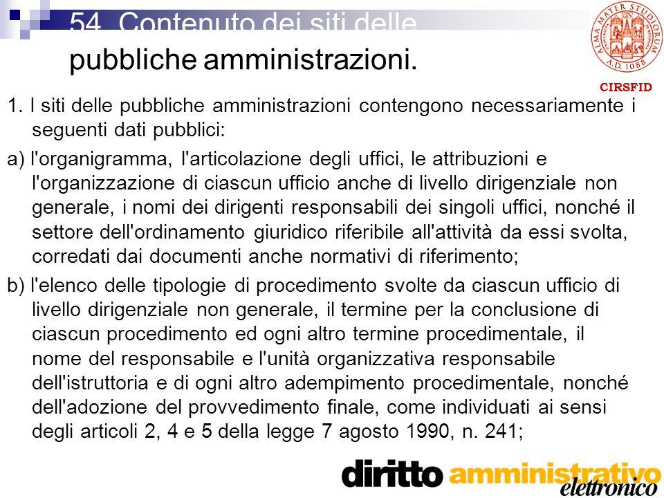 CIRSFID 54. Contenuto dei siti delle pubbliche amministrazioni.