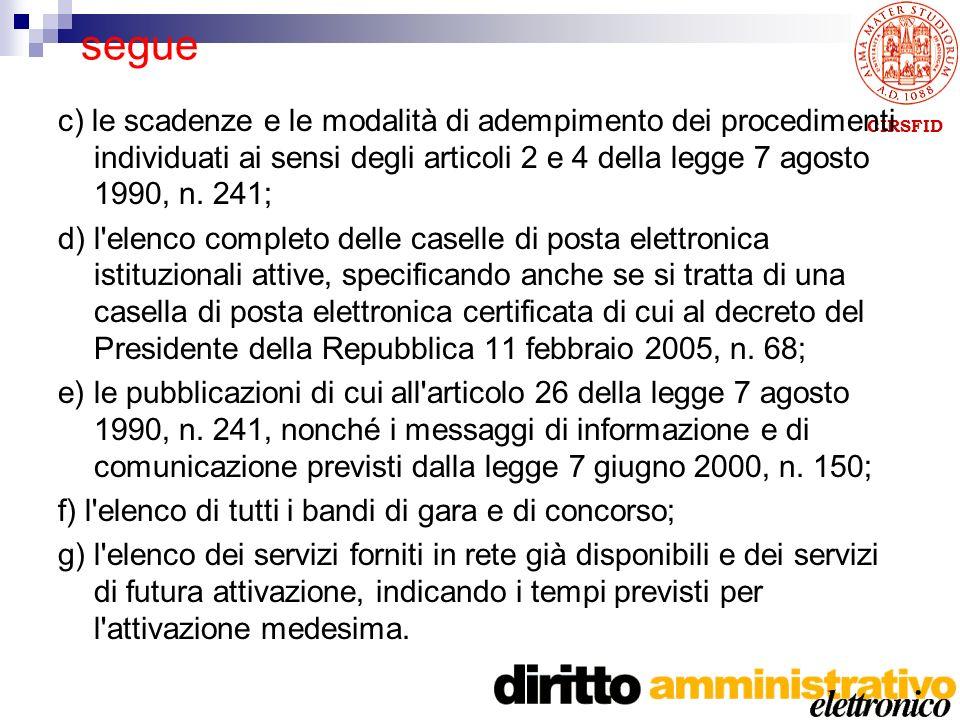 CIRSFID segue c) le scadenze e le modalità di adempimento dei procedimenti individuati ai sensi degli articoli 2 e 4 della legge 7 agosto 1990, n.