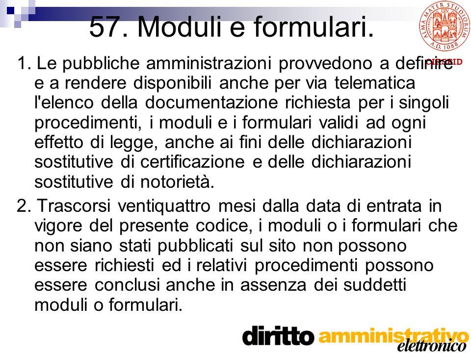 CIRSFID 57. Moduli e formulari. 1.