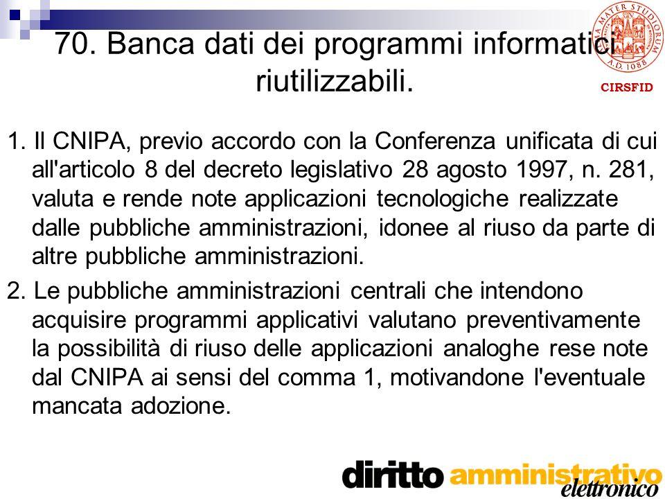 CIRSFID 70. Banca dati dei programmi informatici riutilizzabili.