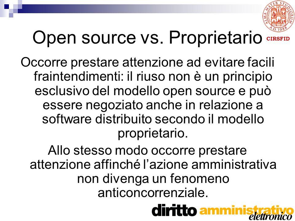 CIRSFID Open source vs. Proprietario Occorre prestare attenzione ad evitare facili fraintendimenti: il riuso non è un principio esclusivo del modello
